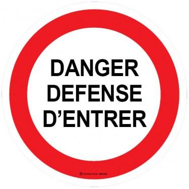 Lot de 5 autocollants visuel Danger Défense d'Entrer