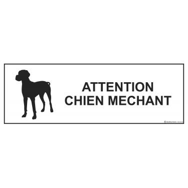 Panneau rectangulaire Attention Chien Méchant