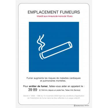 Panneau rectangulaire Emplacement fumeurs panneau officiel