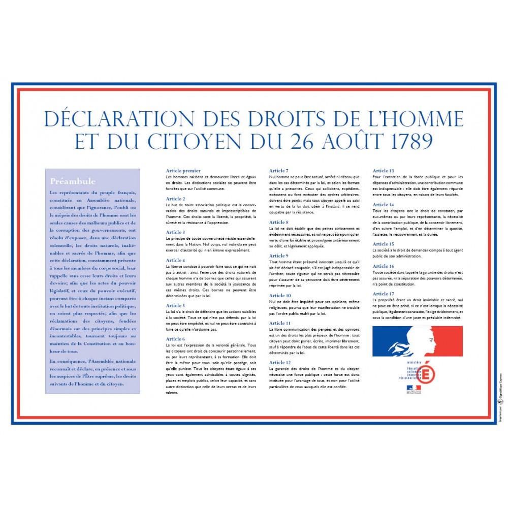 Panneau rectangulaire de Déclaration des Droits de l'Homme et du Citoyen