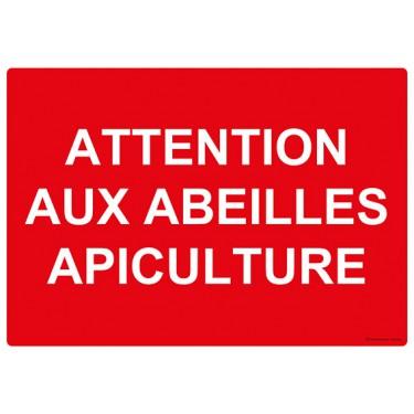 Panneau rectangulaire Attention aux Abeilles Apiculture