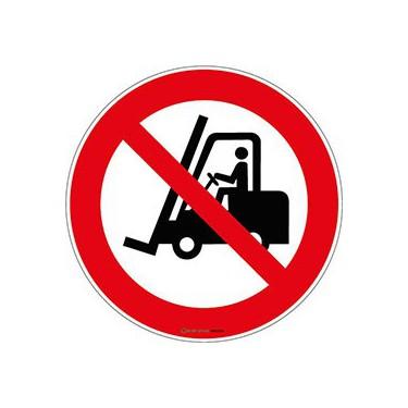 Lot de 5 autocollants Interdit aux chariots élévateurs à fourche ISO 7010 P006