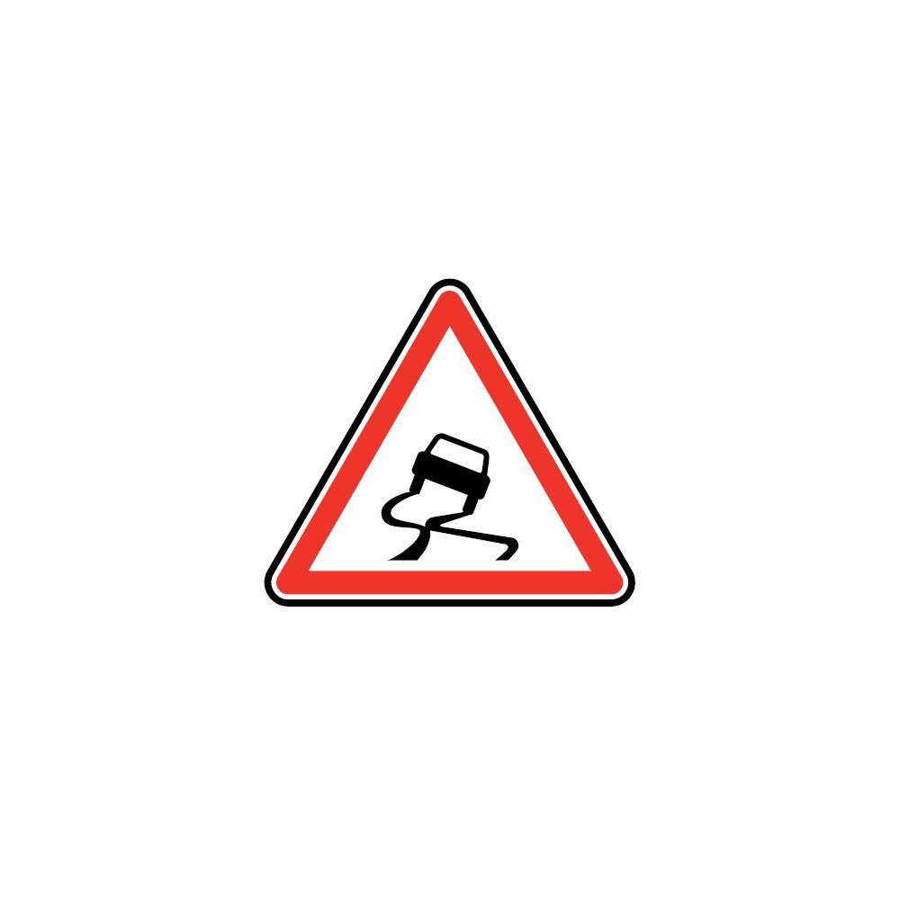 Panneau routier - type A Danger - A4  chaussée particulièrement glissante - Signalétique Express