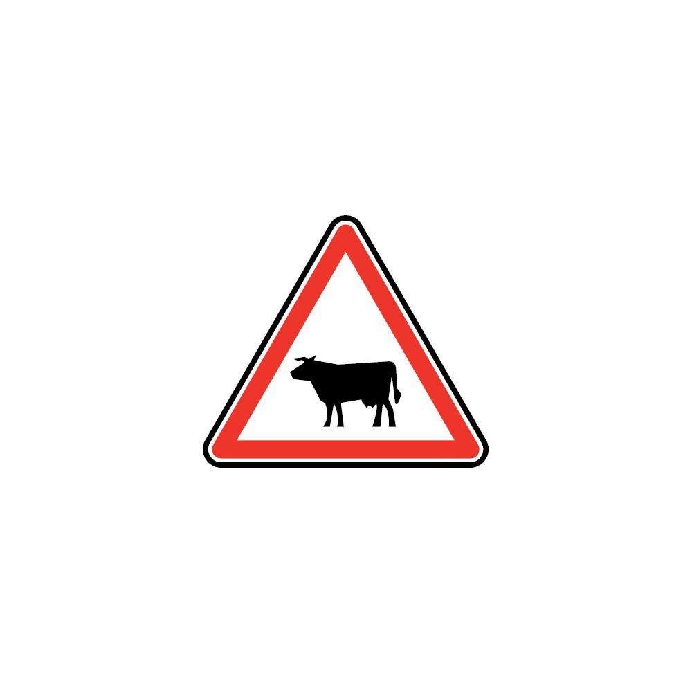 Panneau routier - type A Danger - A15a1  passage d'animaux domestiques - Signalétique Express