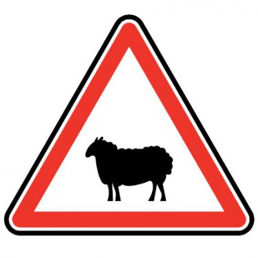 Panneau routier - type A Danger - A15a2  passage d'animaux domestiques - Signalétique Express