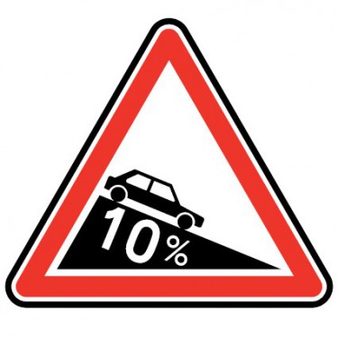 Panneau routier - type A Danger - A16  descente dangereuse - Signalétique Express
