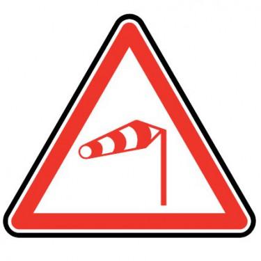 Panneau routier - type A Danger - A24  vent latéral - Signalétique Express