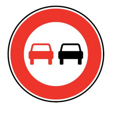 Panneau routier-type B interdiction  - B3 interdiction de dépasser - Signalétique Express