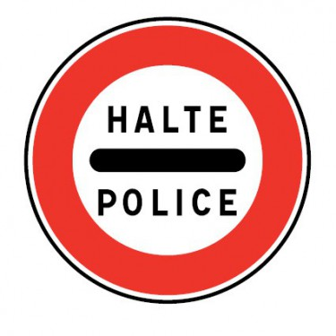 Panneau routier-type B interdiction  - B5b arrêt obligatoire à un barrage de police - Signalétique Express