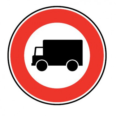 Panneau routier-type B interdiction  - B8 accès interdit aux véhicules affectés au transport de marchandises
