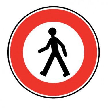 Panneau routier-type B interdiction  - B9a accès interdit aux piétons - Signalétique Express