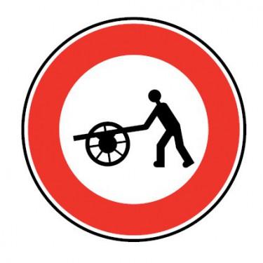 Panneau routier-type B interdiction  - B9e accès interdit aux charrettes à bras - Signalétique Express