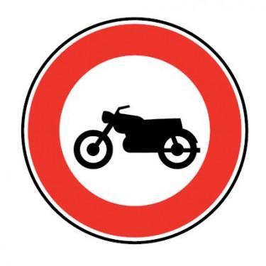 Panneau routier-type B interdiction  - B9h accès interdit aux motocyclettes et motocyclettes légères