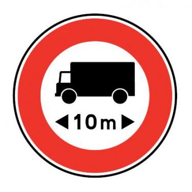 Panneau routier-type B interdiction  - B10a accès interdit aux véhicules ou ensembles de véhicules ayant une longueur…