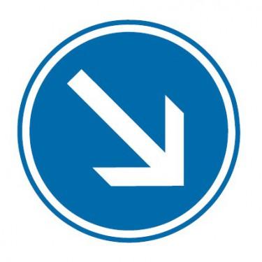 Panneau routier-type B Obligation  - B21a1 contournement obligatoire par la droite - Signalétique Express