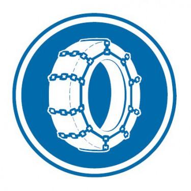 Panneau routier-type B Obligation  - B26 chaînes à neige obligatoires - Signalétique Express