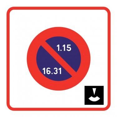 Panneau routier - B6b5 zone à stationnement unilatéral à alternance semi-mensuelle et à durée limitée avec contrôle par disque
