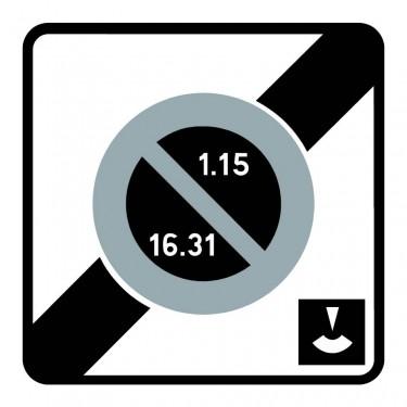 Panneau routier - B50e fin de zone à stationnement unilatéral à alternance semi-mensuelle et à durée limitée contrôlée