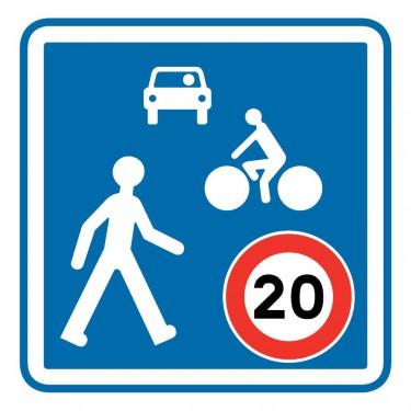 Panneau routier-type B Zones de circulation  - B52 entrée d'une zone de rencontre - Signalétique Express