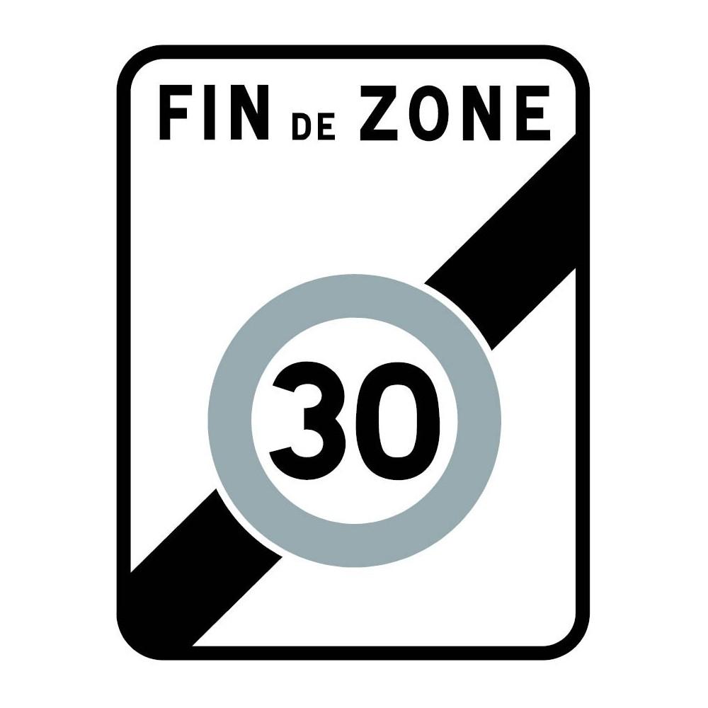 Panneau routier-type B Zones de circulation  - B51 annonce la fin d'une zone où la vitesse est limitée à 30 km/h