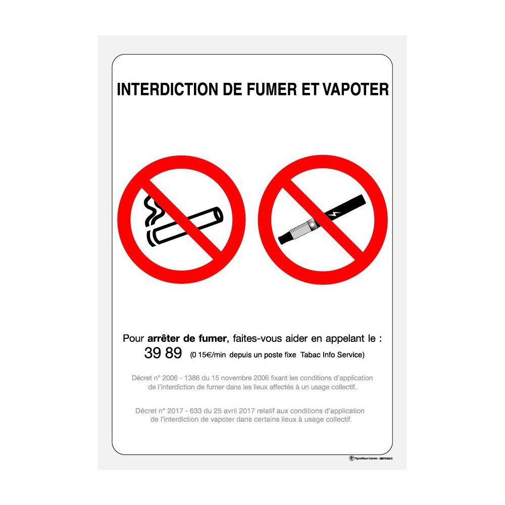 Panneau rectangulaire Interdiction de fumer panneau officiel