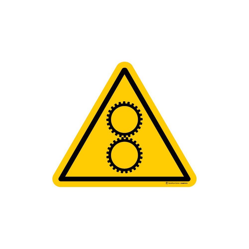 Panneau Danger d'écrasement - engrenage