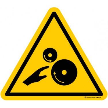 Autocollants Risque d'écrasement engrenage rouleaux lisses - Lot de 5