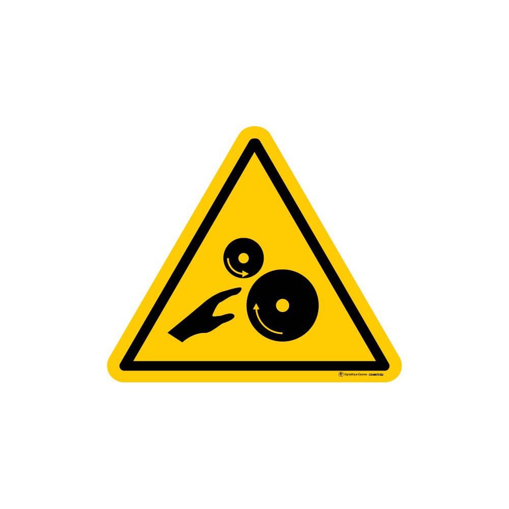Panneau Risque d'écrasement engrenage rouleaux lisses