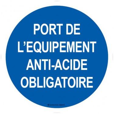 Panneau Port de l'équipement anti-acide obligatoire