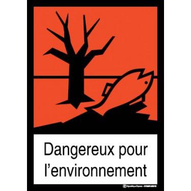 Panneau Dangereux pour l'environnement visuel et texte