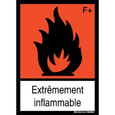 Panneau Extrêmement inflammable visuel et texte