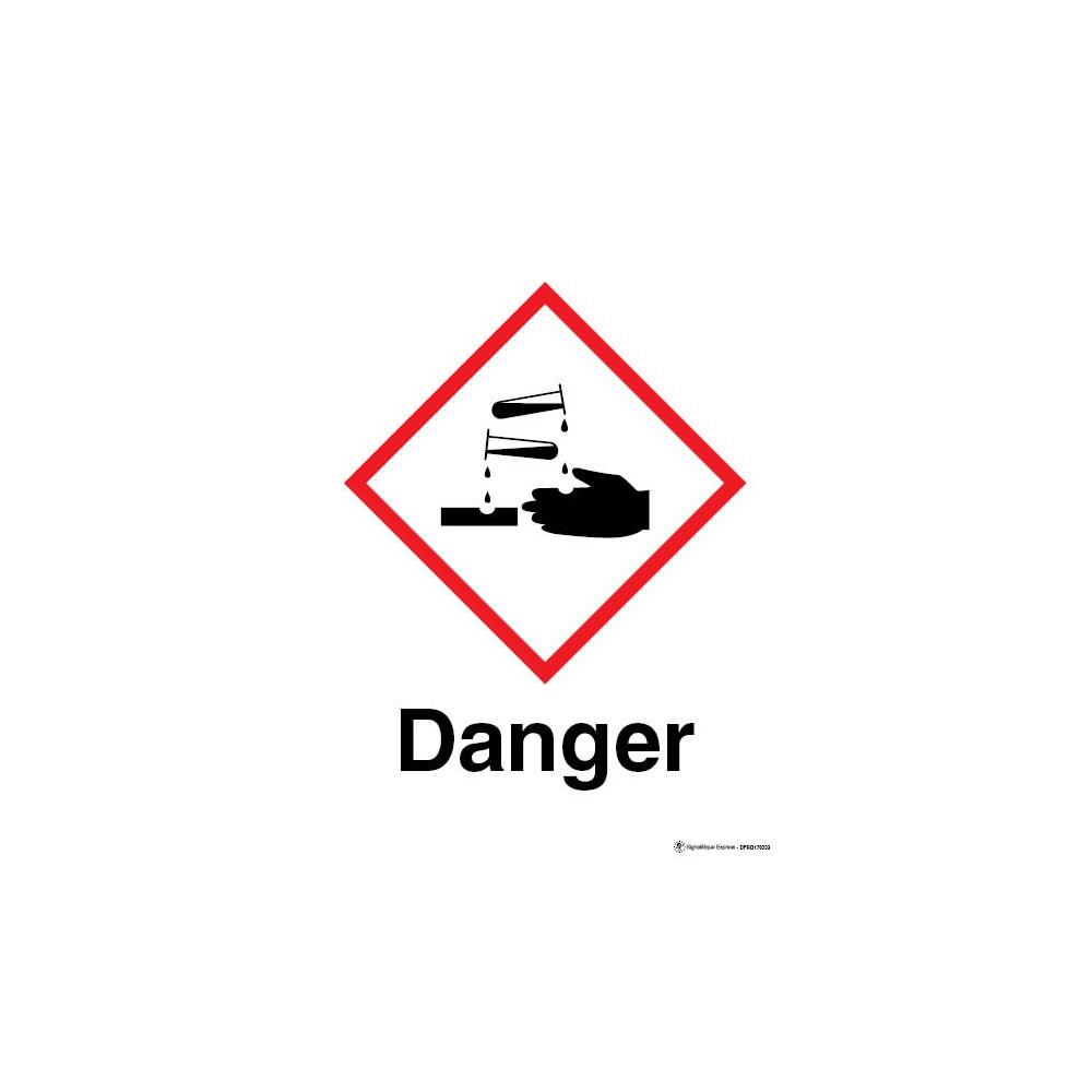 Panneau Danger matières corrosives SGH05
