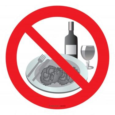 Panneau Interdiction de boire ou de manger - verre et assiette