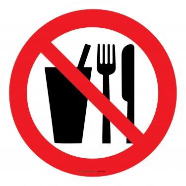 Panneau Interdiction de boire ou de manger - gobelet et couverts