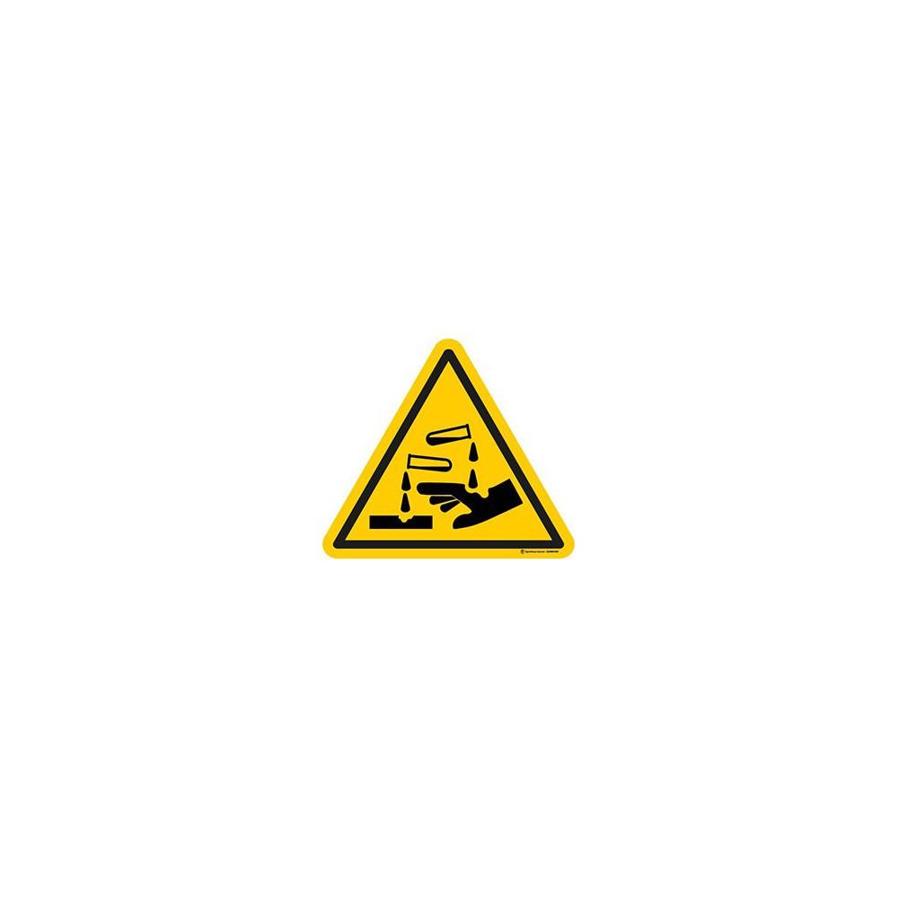 Panneau Danger substances corrosives ISO 7010 W023