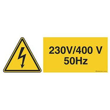 Panneau Danger électricité 230v - 400v 50hz