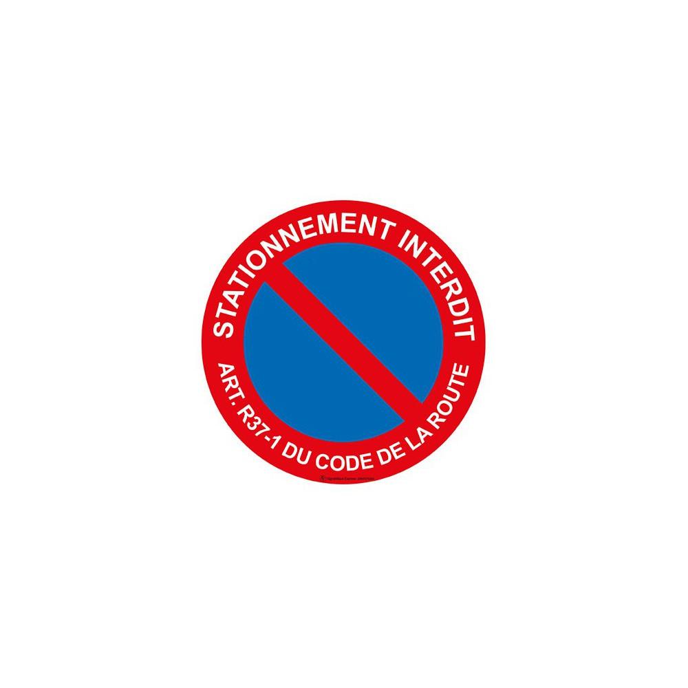 Panneau Stationnement interdit art. r37-1 du code de la route