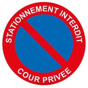 Panneau Stationnement interdit cour privée