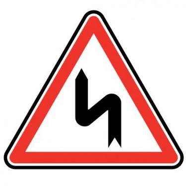 Panneau routier - type A Danger - A1d  succession de virage, premier gauche - Signalétique Express