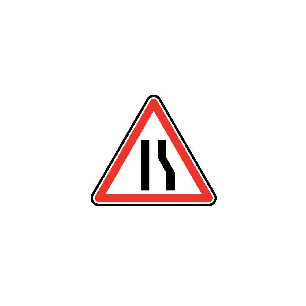 Panneau routier - type A Danger - A3a  chaussée rétrécie par la droite - Signalétique Express