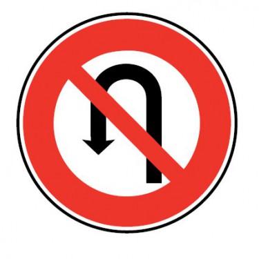 Panneau routier-type B  - B2c interdiction de faire demi-tour sur la route suivie jusqu'à la prochaine intersection incluse