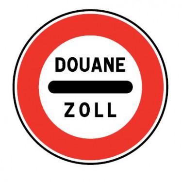 Panneau routier-type B interdiction  - B4 arrêt obligatoire à un poste de douane - Signalétique Express