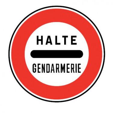 Panneau routier-type B interdiction - B5a arrêt obligatoire à un barrage de gendarme - Signalétique Express
