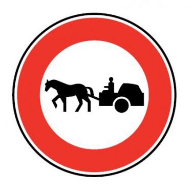 Panneau routier-type B interdiction  - B9c accès interdit aux véhicules a traction animale - Signalétique Express