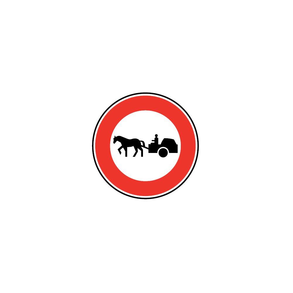 Panneau Accès interdit aux véhicules a traction animale - B9c