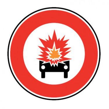 Panneau routier - B18a accès interdit aux véhicules transportant des marchandises explosives ou inflammables