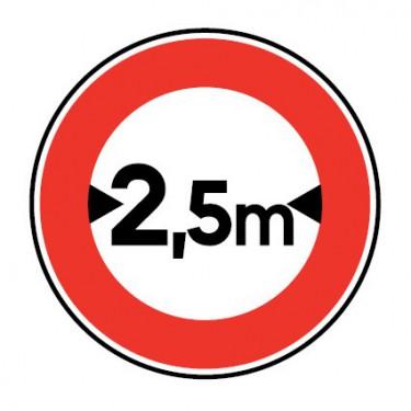Panneau routier-B11 accès interdit aux véhicules ayant une largeur, chargement compris, supérieure à la longueur indiquée