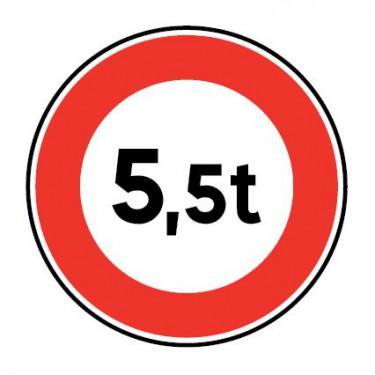 Panneau Accès interdit en fonction du poids des véhicules - B13