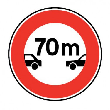 Panneau routier-type B interdiction - B17 intervalle minimal à respecter avec le véhicule qui précède - Signalétique Express