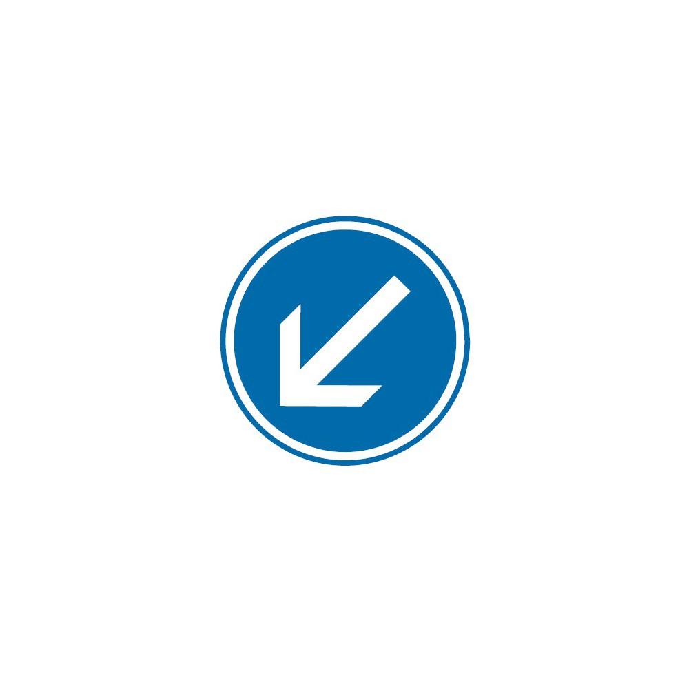 Panneau routier-type B Obligation  - B21a2 contournement obligatoire par la gauche - Signalétique Express